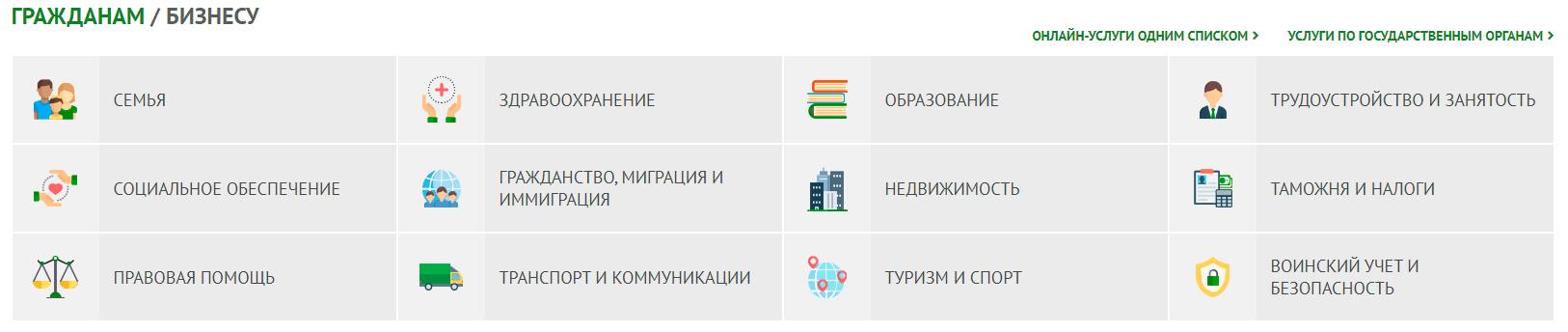 Электронные услуги ЕГОВ КЗ